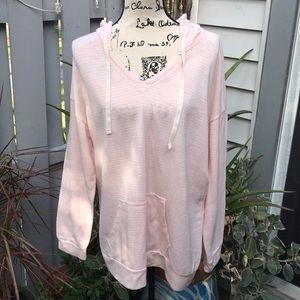 Sonoma pink striped lightweight hoodie size 1X